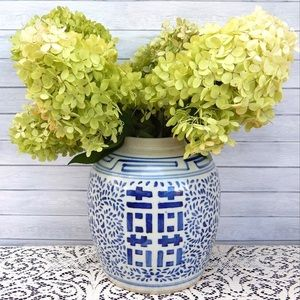 Antique Blue & White Double Happiness Ginger Jar